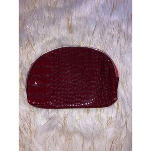 Handbags - Red Snakeskin Zipper Pouch Clutch